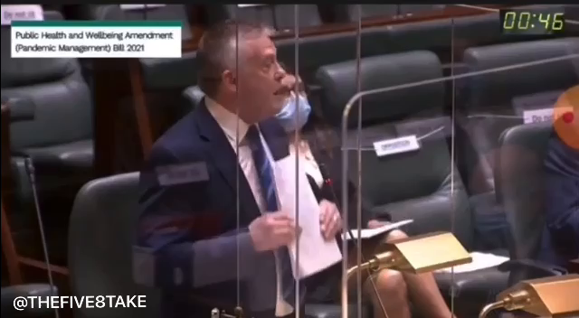 """Ryan Smith, MP -  """"If the premier [Dan Anjews] wants to know how much victorians love this legislation… let him go out to bourke street mall, I tell you he'll get a free character assessment there!"""""""