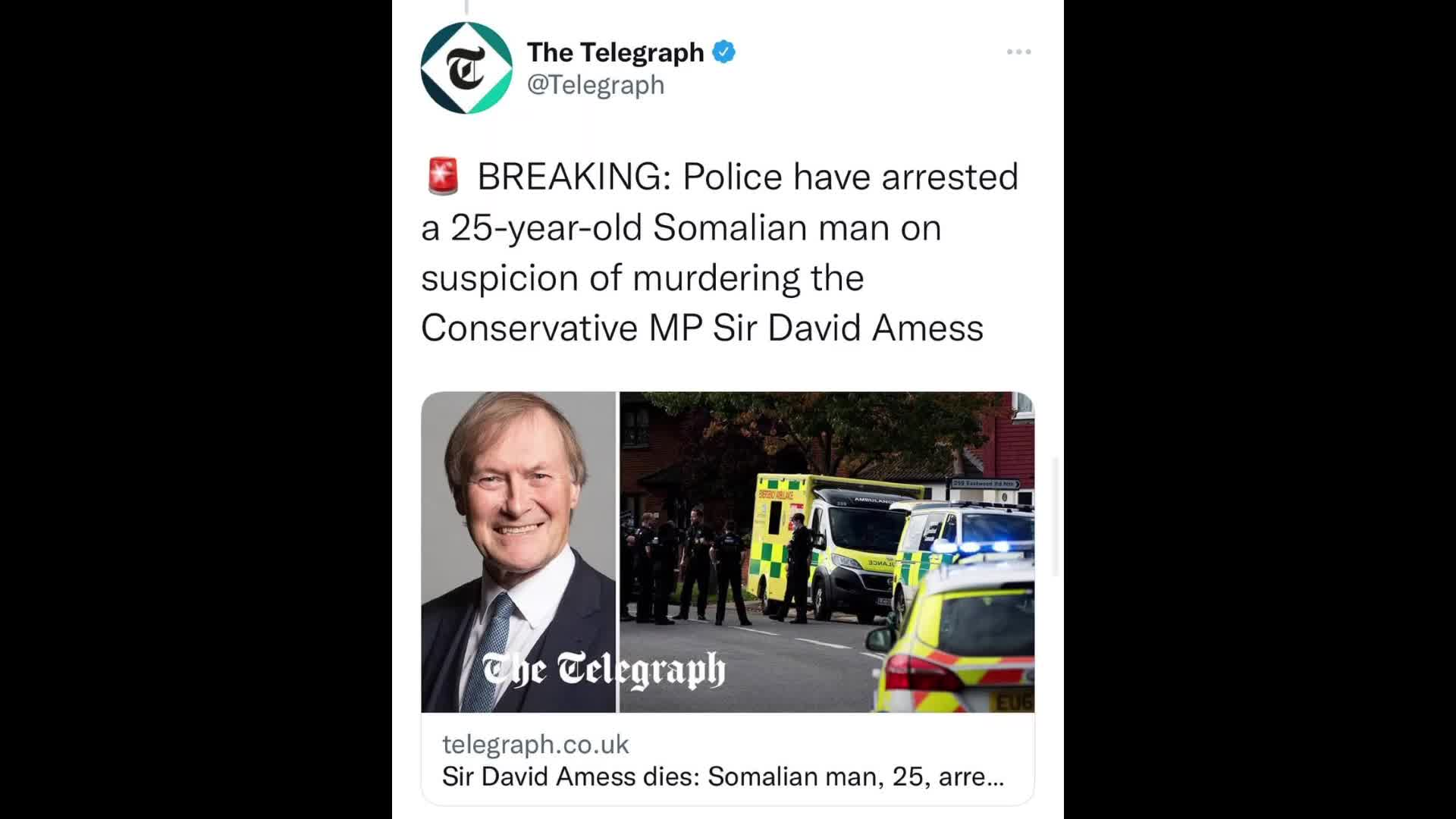 Police have announced the arrest of a 25 year old Somalian man on suspicion of murdering Conservative MP Sir David Amess
